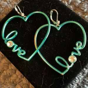 Blue Love Heart Shaped Hoops